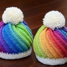 How fun are these adorable hats, knit in our Chroma Worsted yarn in Pegasus and Groovy! (Pattern: Twist Top Beanie by Marken of the Hat & I on Ravelry) Chroma is available at KnitPicks.com