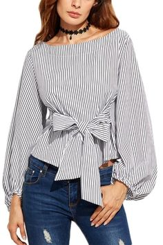 Lauren Lane Pinstripe Top. You won't be able to help how good you'll be looking in this Lauren Lane pinstripe top! TheChicFind.com #WomenFashion