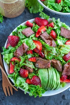 Strawberry Steak Salad with Homemade Balsamic Dressing recipe