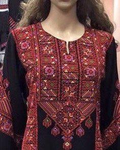 Black Dress / Kaftan / Tobe / Thobe with bautiful Red Palestinian Cross Stitch / Embroidery