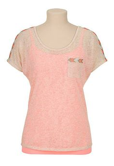 Ethnic embroidered trim hacci dolman top (original price, $29) available at #Maurices