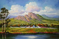 Landscape Paintings, Landscapes, Cape Dutch, South African Artists, Worcester, Local Artists, Cleaning Tips, Painting & Drawing, Whimsical