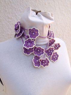 Phapsody  Crochet lariat scarf with Flower in by ArtofAccessory, $25.00