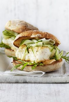 SPICY HERB PAN-FRIED COD SANDWICH with CUCUMBER RIBBON QUICK-PICKLES & CHILI MAYONNAISE [olivemagazine] [chile, chilli, chili, pepper, chili pepper, hot pepper]