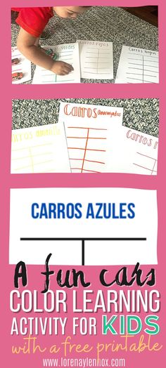 Cars Color Learning Activity for Bilingual Preschoolers With Free Printable Template  To facilitate this activity, I have created a free printable template in Spanish that you can print and use. There is also a blank template where you can write your colors if you want to do this activity in English or any other language. #colorlearningactivities #colorlearningactivitiesfreeprintable #colorlearningactivitiesfortoddlers #colorlearningactivitiesforpreschoolers #funcolorlearningactivities Toddler Fine Motor Activities, Outdoor Activities For Toddlers, English Activities, Kids Learning Activities, Infant Activities, Holidays With Toddlers, Cultural Crafts, Bilingual Education, Parenting Toddlers