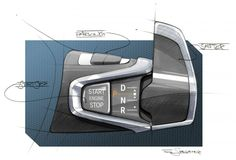 BMW i3 - Interior Design Sketch - Gear selector http://www.carbodydesign.com/design-sketch-board/bmw/recent/page/10/