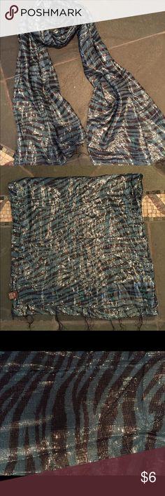 Zebra print shimmery scarf Teal and black zebra print with silver metallic thread scarf Raj Accessories Scarves & Wraps