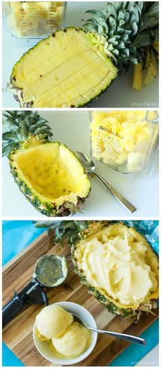3 Ingredient Pineapple Frozen Yogurt Recipe - SO AMAZING and so easy to whip up…