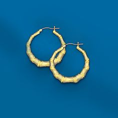 Description: 10Kt Door Knocker Round Bamboo Hoop Earrings  Metal Type:	10Kt Yellow Gold  Weight:	 5.50 grams  $250.00
