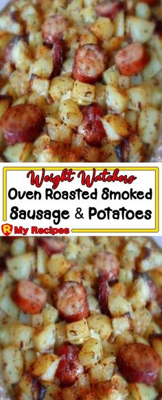 Weight Watchers Oven Roasted Smoked Sausage and Potatoes Smoked Sausage And Potato Recipe, Smoke Sausage And Potatoes, Kielbasa And Potatoes, Oven Potatoes, Polish Sausage Recipes, Sausage Recipes For Dinner, Weight Watchers Recipes With Sausage, Recipes With Sausage Kielbasa, Recipes With Sausage Links