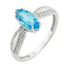 Sterling Silver Genuine Swiss Blue Topaz Marquise