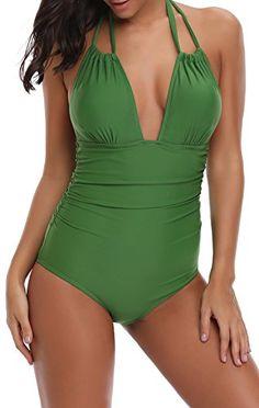 35d74b07d6b67 Eomenie Women s Deep V Neck Bathing Suits Monokini Sexy Tummy Control Swimwear  One Piece Swimsuit For Women