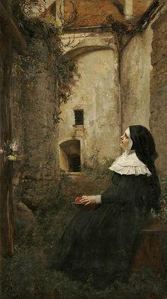 Wagner, Ferdinand, Jr  (b,1847)- Contemplating Nun -2a