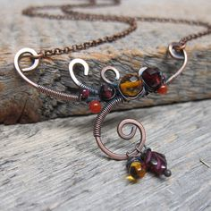 Autumn Branch Necklace  Wire Wrapped Copper by ElementsArtifacts, $52.00