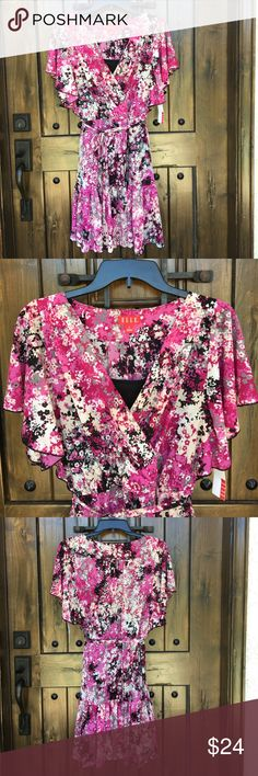 """New ELLE Pink Boho Floral Dress S This is a new ELLE Floral dress in size S. The dress has a black full slip dress inside so it is lined. It has an elastic waist and a adjustable tie belt. Approx measurements: 34"""" bust, 25"""" waist, 35"""" length. ELLE Dresses"""