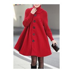 Rotita Long Sleeve Button Closure Red Swing Coat (495.445 IDR) ❤ liked on Polyvore featuring outerwear, coats, red, red swing coat, long swing coat, long sleeve turtleneck, trapeze coat and print turtleneck