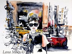 Fashion Original Watercolor Illustration by Lana Moes Titled:  Homage to Breakfast at Tiffanys.  Audrey Hepburn is the very definition of fresh and