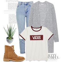A fashion look from September 2016 featuring Vans t-shirts, Acne Studios cardigans and Topshop jeans. Browse and shop related looks.