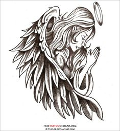 Angel Tattoos are Praying praying angel tattoo Praying Angel Tatoo Tattos Tatoos Tatto Tattoo Designs Art Free tattoos The praying hands tat. Fallen Angel Tattoo, Guardian Angel Tattoo, Angel Tattoo Men, Tattoos Skull, Girl Tattoos, Tattoos For Guys, Angle Tattoo For Men, Angle Wing Tattoos, Heart Tattoos