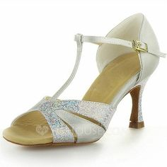 Women's Satin Sparkling Glitter Heels Pumps Latin With T-Strap Dance Shoes (053058737)