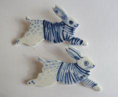 Blue and white  Breton Rabbit Brooch - Handpainted Blue Delft Porcelain.