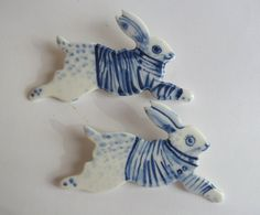 Blue and white Breton Rabbit Brooch - Handpainted Blue Delft Porcelain.