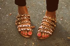 Strappy leopard print sandal.
