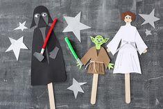 Star Wars-Stabpuppen • Umsetzung und Foto: Thordis Rüggeberg Star Wars, Yoda, Darth Vader, Prinzessin Leia, DIY, Basteln mit Kindern