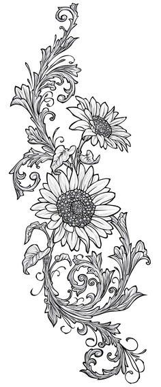 Sunflowers used for the Wood drawer file cabinet, wood burning design.