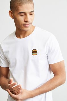 8946842887a99 Bricktown World Embroidered Hamburger Tee