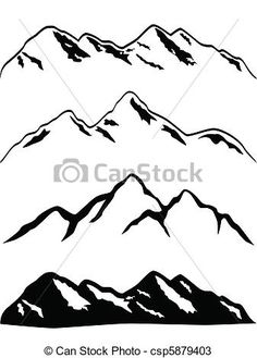 Vectors of Snowy mountain peaks - Various mountains with snow caps ...