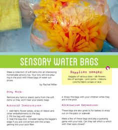 Bring summer camp home with fun activities like these sensory water bags. Great way to stay cool this summer!