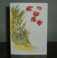 "hand painted floral greetings card original 7x5"" (ref 690) £1.50"