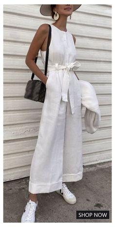 Jumpsuit Outfit, Casual Jumpsuit, Summer Jumpsuit, Overalls Outfit, White Jumpsuit, Elegante Jumpsuits, Safari Look, Summer Outfits, Casual Outfits