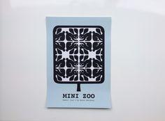 Mini Zoo ABC – Grafisk plakat med små harer – A3 #illustration#minizoo#børneværelse#grafisk#retro