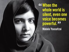 Malala Yousafzai. In 2014, she became the youngest recipient of the Nobel Peace Prize. Courageous girl.