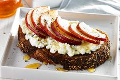 Pear Ricotta Toast made using the KitchenAid® Spiralizer Attachment with Peel, Core and Slice.