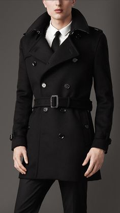 mid length wool cashmere trench coat burberry - Costume Col Mao Mariage