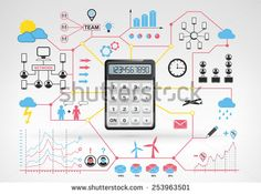business calculations with blue red info graphic icons and graphs around vector background for web and media design collection illustration - Shutterstock Premier