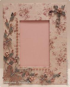 Рама паспарту Квиллинг Розовая тайна в серебре  Бумажные полосы фото 1