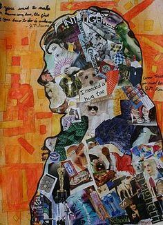 the art classroom: Grade Mixed Media Silhouettes 7th Grade Art, Identity Art, Personal Identity, Visual Identity, Atelier D Art, Teen Art, Ecole Art, School Art Projects, Middle School Art