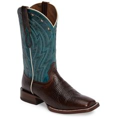 Men's Ariat Cowtown Cowboy Boot ($250) ❤ liked on Polyvore featuring men's fashion, men's shoes, men's boots, chocolate bullfrog print, mens cowboy boots, mens shoes, mens leather cowboy boots, colorful mens shoes and mens leopard print shoes