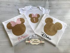 One Tee or One Onesie ONLY The tee shirt can be personalized with a name or can be as it is in the photo. These tees ar Minnie Mouse 1st Birthday, Girl 2nd Birthday, Minnie Mouse Party, First Birthday Parties, First Birthdays, Birthday Ideas, Kylie Birthday, Tutu Minnie, Mickey Party