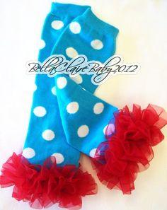 Blue Polka Dot with Red Ruffle Leg/Arm warmers...so precious