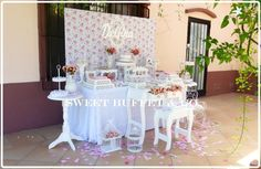 Sweet Buffet & Co 's Birthday / Shabby chic - Photo Gallery at Catch My Party Shabby Chic Birthday Party Ideas, Sweet Buffet, Ideas Para Fiestas, Girl Shower, First Birthdays, Birthday Parties, Candy, Bar, Home Decor