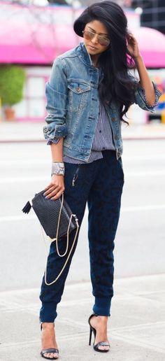stripped shirt   denim jacket   heels