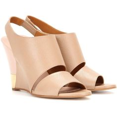 Chloé Eliza Leather Wedge Sandals (€365) ❤ liked on Polyvore featuring shoes, sandals, heels, wedges, neutrals, nude leather shoes, leather sandals, nude sandals, heeled sandals and nude heel shoes