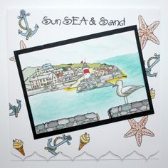 """This Card was made by Bernie Simmons using the new """"Harbour Village"""" stamp set designed by Sharon Bennett for Hobby Art Stamps"""