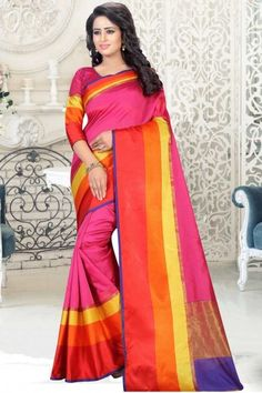 Pink cotton and art silk printed saree with pink art silk blouse. Embellished with embroidered and print embroidery. Saree with ,U Neck Blouse, Quarter Sleeve. It comes with unstitch blouse, it can be stitched to sizes. Sari Design, Indian Outfits, Indian Clothes, Mothers Day Special, Indian Sarees Online, Latest Designer Sarees, Ethnic Wear Designer, Elegant Saree, Art Silk Sarees