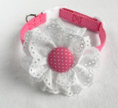 Dog Collar with Flower: Pink and White Polka Dot Fabric Dog Collar